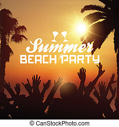 sommer, sandstrand, hintergrund, party