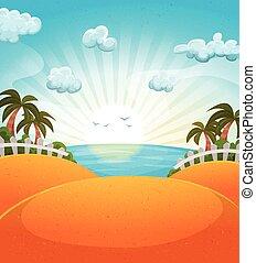 sommer, sandstrand, karikatur, landschaftsbild