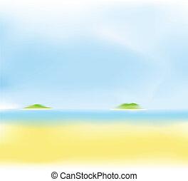 sommer, sandstrand, verwischen, hintergrund