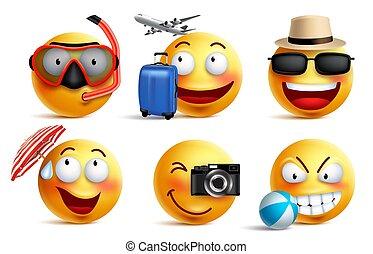 sommer, satz, smileys, reise, ausstattungen, vektor