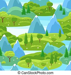 sommer, seamless, mønster, hos, træer, bjerge, og, hills., sæsonprægede, landskab, illustration