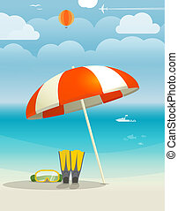 sommer, seaside, ferie, illustration