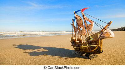 sommer, skib, strand, solfyldt, model