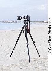 sommer, slr kamera, stativ, digital, sandstrand