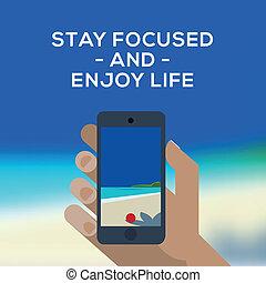 sommer, smartphone, bild, begriff, machen, tropische , meer, sandstrand