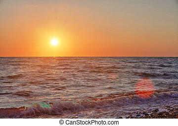 sommer, solnedgang, hav, landskab, middelhavet, smukke