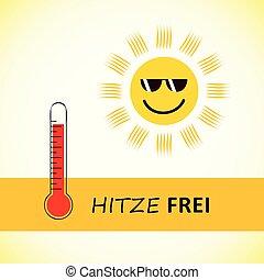 sommer, sonnenbrille, deutsch, sonne, frei, hitze, text, lächeln glücklich