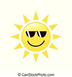 sommer, sonnenbrille, sonnegesicht, lächeln, glücklich