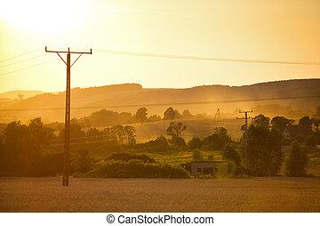 sommer, sonnenuntergang, landschaftsbild