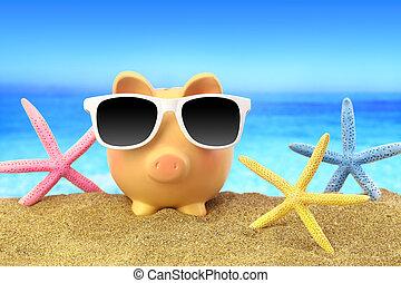 sommer, spaardose, mit, sonnenbrille, und, starfishes, auf, sandstrand