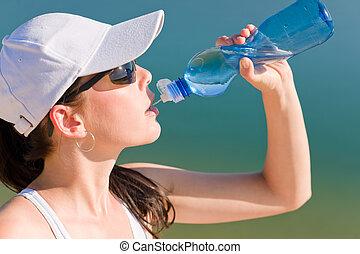 sommer- sport, anfall, frau, getränk- wasser, flasche