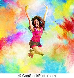 sommer, sprünge, lehrer, farben, fitness