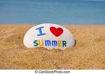 sommer, stein, liebe, meer, sand, wörter