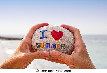 sommer, stein, liebe, person, wörter, hände