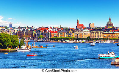 sommer, stockholm, schweden, panorama