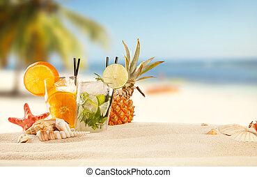 Folkekære Sommer, strand, tilbehør, drinks. Sommer, drinks, strand, hav skal. BG-33