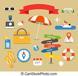 sommer, strand, urlaub, illustration., verschieden, tuff, sammlung