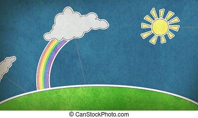 sommer, szene, mit, regenbogen, schleife