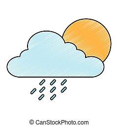 sommer, tropfen, wolkenhimmel, regen, sonne