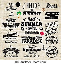 sommer, typographie, vektor, design, feiertag, abzeichen
