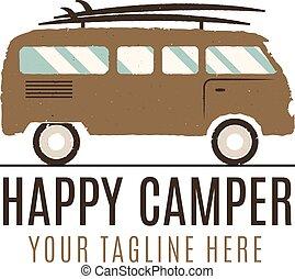 sommer, udendørs, familie, klassisk, karavane, equipment., konstruktion, logo, template., design., rv, godsvognen, vinhøst, concept., truck., glade, bus, camper, symbol., eventyr, ikon, wagon, surfing, illustration., emblem., vektor, lastbil