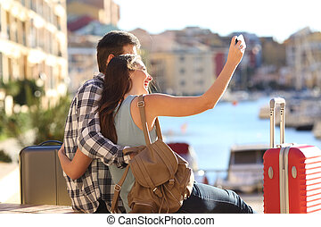 sommer urlaub, selfies, takig, touristen, glücklich
