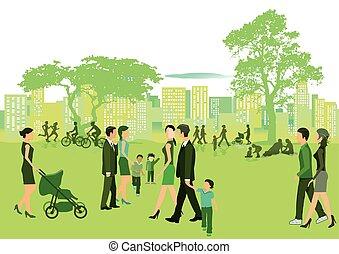 Sommer vor der Stadt.eps - Summer in the park with people...