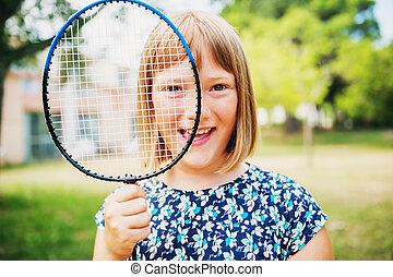 sommer, wenig, parc, lustiges, badminton, grün, porträt, m�dchen, spielende , kind