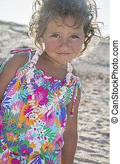 sommer, wenig, sandstrand, Schalen, Verzierung, m�dchen