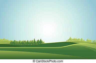 sommer, wiese, hintergrund., vektor, landschaftsbild, illustration.
