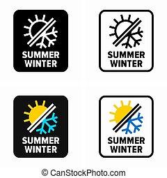 sommer, winter, symbol, klima