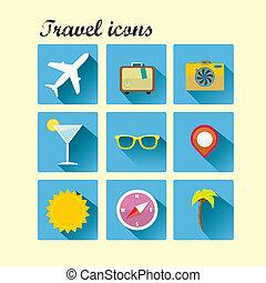sommer, wohnung, reise, icons., trend., vektor, design