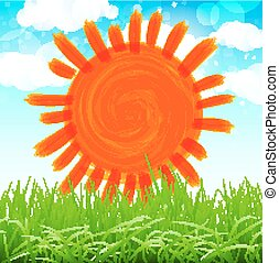 sommerblüte, sonne, gras, vlinders, vektor, hintergrund