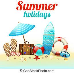sommerferie, baggrund, plakat