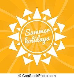 sommerferien, zeichen, mit, sun., hell, sommer, hintergrund