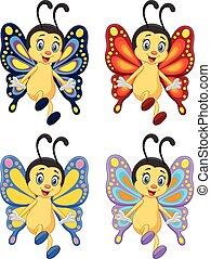 sommerfugl, cartoon, samling