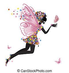 sommerfugl, fairy, blomst