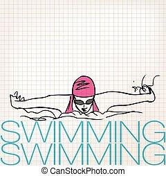 sommerfugl, firmanavnet, illustration, den agterste roer, pige, svømning