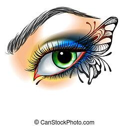 sommerfugl, forarbejde, øje, oppe