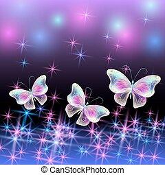 sommerfugl, glødende, fyrværkeri