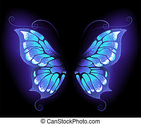 sommerfugl, glødende, vinger