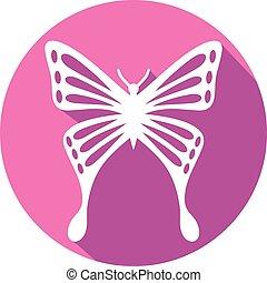 sommerfugl, lejlighed, ikon