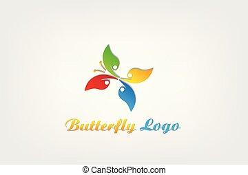 sommerfugl, logo, teamwork, natur