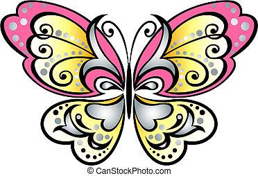 sommerfugl, scroll, symbol