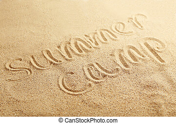 sommerlager, handgeschrieben, in, a, setzen sand strand