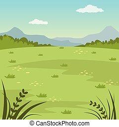 sommerlandschaft, feld, natur, abbildung, vektor, grüner hintergrund, ländlich