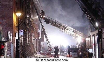 sommet, échelle, fonctionnement, pompier