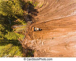 sommet, équipement, bulldozer, earthworks, ground., construction, above., site, aérien, lourd, photographie, vue.