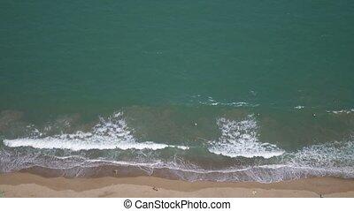 sommet, aérien, sable, vue, waves., plage., mer, lent, motion.