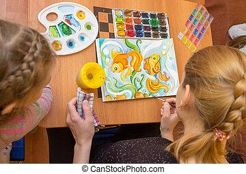 sommet, aquarelle, enfant, enseignement, dessin, vue